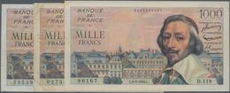 """France / Frankreich: Banque De France Set With 3 Banknotes 1000 Francs 1954/55 """"Richelieu"""", P.134a W - 1955-1959 Overprinted With ''Nouveaux Francs''"""