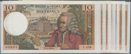 """France / Frankreich: Banque De France Set With 9 Banknotes 10 Francs 1969/70/71/73 """"Voltaire"""", P.147 - 1955-1959 Overprinted With ''Nouveaux Francs''"""