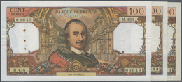 """France / Frankreich: Banque De France Set With 3 Banknotes 100 Francs 1965/69/70 """"Pierre Corneille"""", - 1955-1959 Overprinted With ''Nouveaux Francs''"""