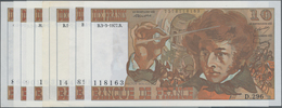"France / Frankreich: Banque De France Set With 7 Banknotes 10 Francs 1974-77 ""Louis Hector Berlioz"", - 1955-1959 Overprinted With ''Nouveaux Francs''"