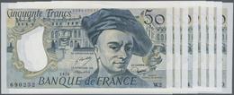 """France / Frankreich: Banque De France Set With 8 Banknotes 50 Francs 1976-92 """"Maurice Quentin De La - 1955-1959 Overprinted With ''Nouveaux Francs''"""