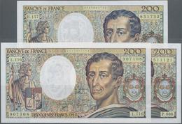 """France / Frankreich: Banque De France Set With 3 Banknotes 200 Francs 1990/92/94 """"Baron De La Brède - 1955-1959 Overprinted With ''Nouveaux Francs''"""