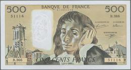 """France / Frankreich: Banque De France Set With 3 Banknotes 500 Francs 1980/90/92 """"Blaise Pascal"""", P. - 1955-1959 Overprinted With ''Nouveaux Francs''"""