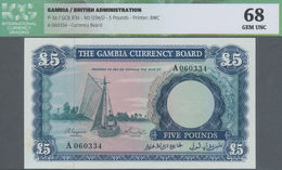 Gambia: The Gambia Currency Board 5 Pounds ND(1965), P.3, Tiny Spots At Lower Left Border Otherwise - Gambia