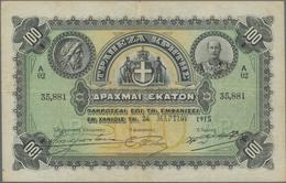 Greece / Griechenland: Bank Of Crete 100 Drachmai 1915, P.S154b, Still Great Condition With A Few Fo - Grecia