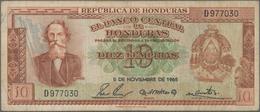 Honduras: El Banco Central De Honduras 10 Lempiras 1965, P.52b, Still Nice With A Few Folds, Tiny Pi - Honduras