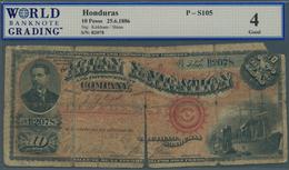 Honduras:  Aguan Navigation And Improvement Company 10 Pesos 1886, P.S105 In Well Worn Condition, Al - Honduras