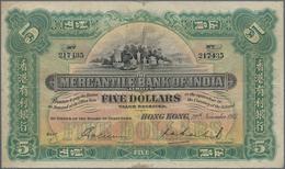 Hong Kong: The Mercantile Bank Of India Limited, HONG KONG Branch, 5 Dollars 1941, P.235d, Still Gre - Hongkong
