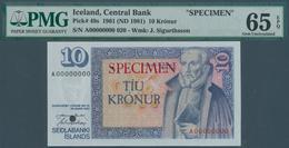 Iceland / Island: 10 Kronur L.1961 (1981) SPECIMEN, P.48s, PMG Graded 65 Gem Uncirculated EPQ - Islanda