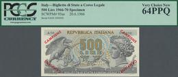 Italy / Italien:  Repubblica Italiana 500 Lire 1966 SPECIMEN, P.93as With Zero Serial Number Red Ove - [ 1] …-1946 : Regno