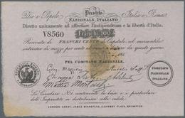 """Italy / Italien: Rare """"Prestito Nazionale Italiano"""" 100 Franchi 185x Remainder P. NL, Half Stamp On - [ 1] …-1946 : Regno"""