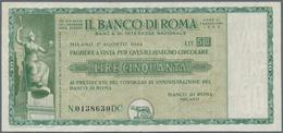 """Italy / Italien: Rare Assignat """"Il Banco Di Roma"""" 50 Lire 1944 With Watermark On Security Paper, Lig - [ 1] …-1946 : Regno"""