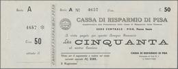 """Italy / Italien: Blanco Cheque Form Of 50 Lire Cassa Di Risparmio Di Pisa With Counterfoil, Series """" - [ 1] …-1946 : Regno"""