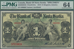 Jamaica: The Bank Of Nova Scotia 1 Pound 1919 SPECIMEN, P.S131s, Uncirculated And PMG Graded 64 Choi - Giamaica