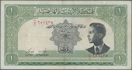 Jordan / Jordanien: The Hashemite Kingdom Of Jordan 1 Dinar L.1949, P.6a, Still Nice With A Few Fold - Jordania