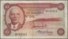 Malawi: Reserve Bank Of Malawi 10 Shillings L.1964, P.2, Lightly Stained Paper With Several Folds. C - Malawi