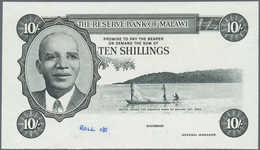 Malawi:  Reserve Bank Of Malawi 10 Shillings L.1964 Intaglio Printed Front Proof In Black And White - Malawi