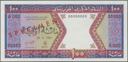 "Mauritania / Mauretanien: 100 Ouguiya 1983 Front And Reverse Specimen With Red Overprint ""SPECIMEN"" - Mauritania"
