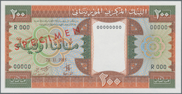 "Mauritania / Mauretanien: 200 Ouguiya 1985 Front And Reverse Specimen With Red Overprint ""SPECIMEN"" - Mauritania"