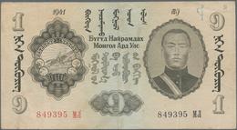Mongolia / Mongolei: 1 Tugrik 1941, P.21, Very Nice Note With Crisp Paper, Some Minor Spots, Graffit - Mongolia