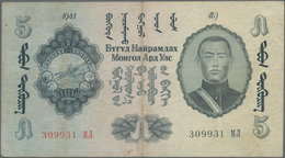 Mongolia / Mongolei: 5 Tugrik 1941, P.23, Stronger Center Fold And Lightly Stained Paper. Condition: - Mongolia