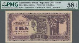 Netherlands Indies / Niederländisch Indien: De Japansche Regeering 10 Gulden ND(1942), P.125a With B - Indie Olandesi