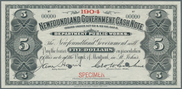 """Newfoundland / Neufundland: 5 Dollars ND Specimen P. A8s With Small Red """"Specimen"""" Overprint At Lowe - Canada"""