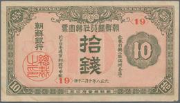 North Korea / Banknoten: Nice Group With 13 Banknotes Comprising For KOREA 10 Sen 1937 P.27 (VF+) An - Billets