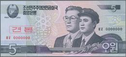 North Korea / Banknoten: Set With 10 Specimen Series 2002-2013 With 5, 10, 50, 100, 200, 500, 1000, - Billets