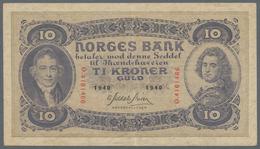 Norway / Norwegen: 10 Kroner 1940, P.8c, Stronger Center Fold And A Few Minor Spots. Condition: XF - Noorwegen