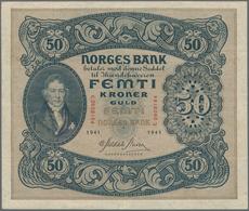Norway / Norwegen: 50 Kroner 1941, P.9d, Great Original Shape With A Few Folds And Minor Spots On Ba - Noorwegen