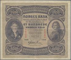 Norway / Norwegen: 100 Kroner 1938, P.10c, Still Nice With A Few Stronger Folds And Tiny Tears At Up - Noorwegen
