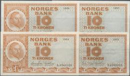 Norway / Norwegen: Nice Set With 4 Banknotes 10 Kroner P.31a,b, Dated 1954 (XF), 1955 (VF), 1956 (aU - Noorwegen