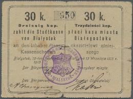 """Poland / Polen: Die Stadtkasse Von Bialystok, 30 Kopeke 1915, With Stamp """"DER DEUTSCHE BÜRGERMEISTER - Poland"""
