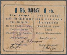 Poland / Polen: Die Stadtkasse Von Bialystok, 1 Rubel 1915, Stamp DER DEUTSCHE BÜRGERMEISTER. Very N - Poland