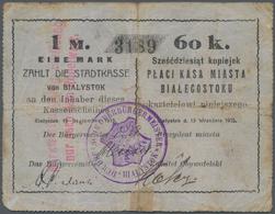 Poland / Polen: Die Stadtkasse Von Bialystok, 1 Mark 60 Kopeki 1915. Stained Paper With Taped Tears. - Poland