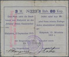 Poland / Polen: Die Stadtkasse Von Bialystok, 3 Mark 1 Rubel 80 Kopeken 1915. Stamp With Coat Of Arm - Poland