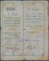 Poland / Polen: Die Stadtkasse Von Bialystok, 5 Mark 3 Ruble 1915, Several Folds, Stained Paper And - Poland