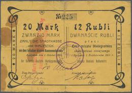 Poland / Polen: Die Stadtkasse Von Bialystok, 20 Mark 12 Rubli 1915. Round Stamp With Small / Fine W - Poland