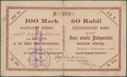 Poland / Polen: Die Stadtkasse Von Bialystok, 100 Mark 60 Rubli 1915, Highest Nominal Value !!, Very - Poland