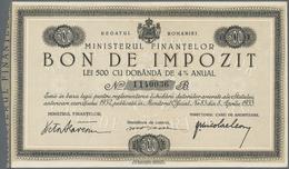 """Romania / Rumänien: Set With 3 Bonds """"Bon De Impozit"""" 500 Lei (UNC), 1000 (aUNC) And 5000 Lei (VF) 1 - Romania"""