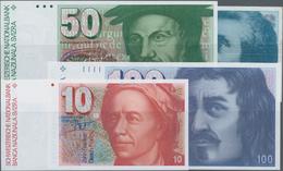 Switzerland / Schweiz: Schweizerische Nationalbank Set With 4 Banknotes, With 10 Franken (19)82 P.53 - Switzerland