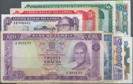 Gambia: Large Lot Of About 370 Banknotes From GAMBIA And ZAMBIA, Mostly Modern But Also Some Earlier - Gambia