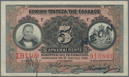 Greece / Griechenland: Nice Collection With 85 Banknotes Comprising For Example 5 Drachmai 1918 With - Grecia