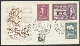 FDC (1956) - 200e Anniversaire Wolfgang Amadeus Mozart çàd N°987/89 Sur Enveloppe Illustrée + Cachet Spécial / Musique. - FDC