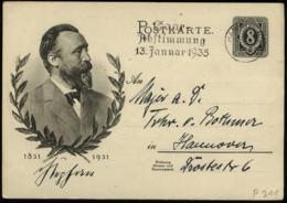 S5697 - DR Stephan GS Postkarte: Gebraucht Mit Werbestempel Saar Abstimmung Hannover 8.12.1934 , Bedarfserhaltung. - Germany