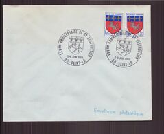 """France, Enveloppe Avec Cachet Commémoratif """" Anniversaire De Sa Destruction """" Du 5 Juin 1969 à Saint-Lô - Cachets Commémoratifs"""