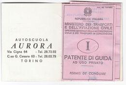 PATENTE DI GUIDA TELATA - PERMIS DE CONDUIRE -  CON MARCHE DA BOLLO -  ANNO 1973 - Documenti Storici