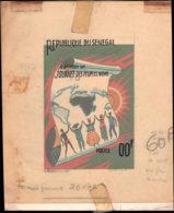 SENEGAL Epreuves  453, Maquette Adoptée, Faciale 00F, Signée Et Annotée Par Lambert, (245x195), Gouache: Journée Des Peu - Senegal (1960-...)