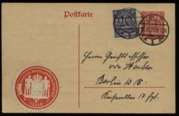 S5584 - DR Infla Dienstpost GS Postkarte Mit Siegelmarke: Gebraucht Celle - Berlin 1920 ,Bedarfserhaltung.\r\n - Covers & Documents